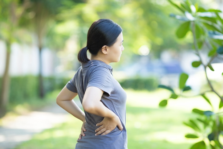 woman suffering form a hernia